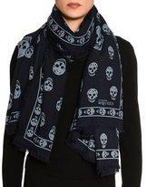 Alexander McQueen Big Skull Wool-Blend Scarf, Navy/Blue