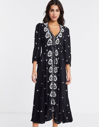 Free People embroidered v maxi dress in black