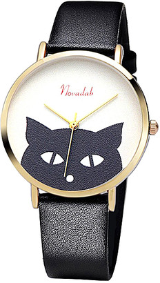 Novadab Women's Watches Black - Black & White Cat Leather-Strap Watch