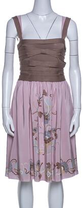 M Missoni Pink And Beige Silk Sleeveless Dress M
