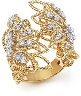 Roberto Coin 18K White and Yellow Gold New Barocco Open Ring with Diamonds