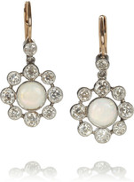 Heirlooms 18-karat gold diamond and opal flower earrings