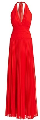 Halston Pleated Georgette Halter Gown