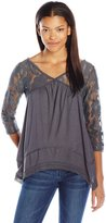 Jolt Women's Lace Yoke and Sleeve Top