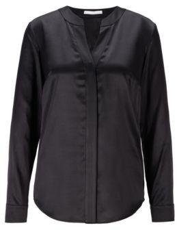 HUGO BOSS Regular Fit Blouse In Stretch Silk Satin - Black