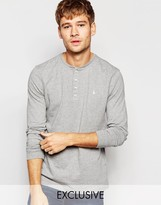 Jack Wills Henley T-Shirt With Long Sleeves in Gray Exclusive