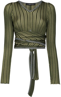 Y/Project Cropped Striped Wrap Top