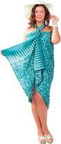 1WorldSarong 1 World Sarongs Womens Plus Size Fringeless Floral Sarong in Green