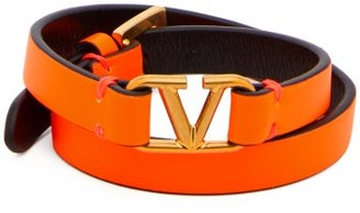 Valentino V-logo Leather Bracelet - Womens - Orange