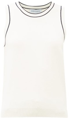 ODYSSEE Libertie Stripe-trim Knitted Tank Top - White Black