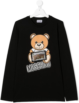 MOSCHINO BAMBINO TEEN teddy bear print long-sleeved top