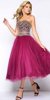 Mac Duggal Strapless Tulle Beaded Tea Length Dress
