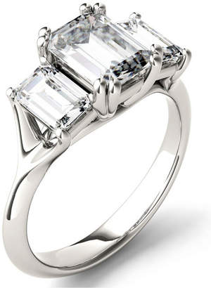 Charles & Colvard Moissanite Emerald Three Stone Ring (2-9/10 ct. tw.) in 14k White Gold