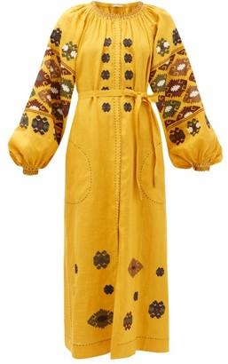 Vita Kin - Bodrum Embroidered-linen Dress - Dark Yellow