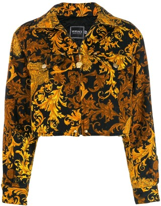 Versace Pre Owned Baroque-Print Padded Denim Jacket