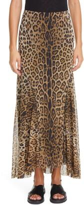 Fuzzi Leopard Print Mesh Maxi Skirt
