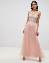 Asos DESIGN premium lace cami top tulle maxi dress