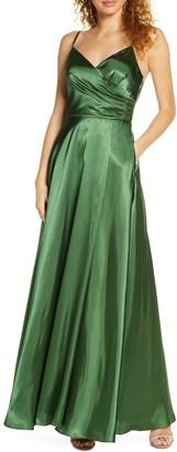 Morgan & Co. Pleated Surplice Satin Gown