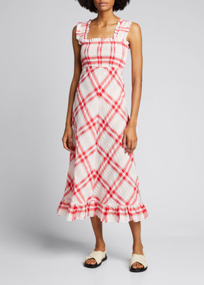 Ganni Seersucker Check Sleeveless Ruffle-Trim Dress