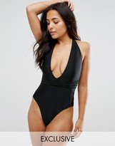 Wolfwhistle Wolf & Whistle Deep Plunge Swimsuit With Cross Straps B-F Cup
