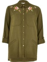 River Island Womens Khaki green floral embroidered shacket