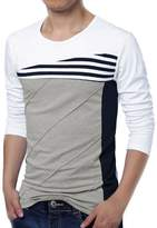 uxcell Men Long Sleeves Color Block Stripes Tee Shirt Large