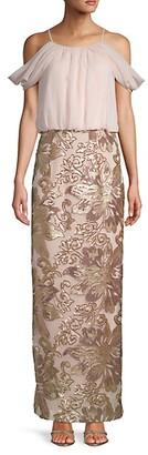 Calvin Klein Cold-Shoulder Chiffon Blouson Gown