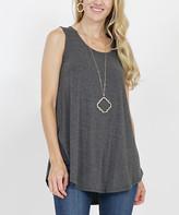 Lydiane Women's Tee Shirts CHARCOAL - Charcoal Sleeveless Curved-Hem Top - Women