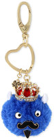 Betsey Johnson Gold-Tone Blue King Furry Keychain