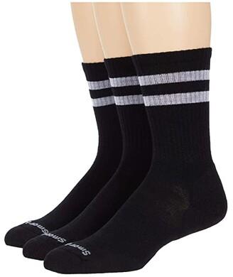 Smartwool Athletic Light Elite Stripe Crew 3-Pack (White/Black) Men's Crew Cut Socks Shoes