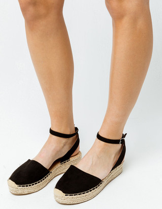 Soda Sunglasses Fiesta Black Womens Espadrille Flatform Sandals