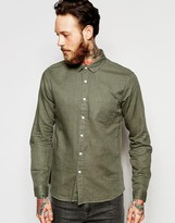 Asos Laundered Linen Shirt In Olive With Long Sleeves In Regular Fit