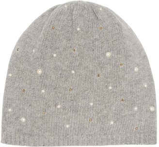 Portolano Scattered Pearly Bead Cashmere Beanie