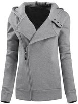 Legou Women Slim Zip-up Hoodies Cotton Short Coat M
