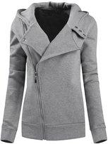 Legou Women Slim Zip-up Hoodies Cotton Short Coat M