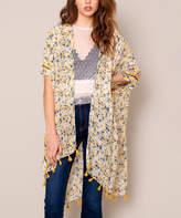 Avenue Zoe Women's Kimono Cardigans MUSTARD - Mustard Floral Tassel Kimono - Women