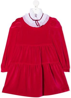 Il Gufo Velvet-Effect Flared Dress