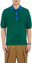 TOMORROWLAND MEN'S CONTRAST-COLLAR POLO SHIRT-GREEN SIZE XL