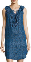 Neiman Marcus Ikat-Print Sleeveless Chambray Dress, Indigo