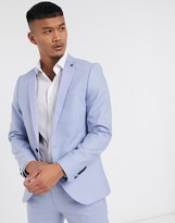Twisted Tailor suit jacket with contrast satin detail in pastel blue