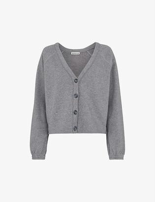 Whistles Sweat V-neck cotton-jersey cardigan
