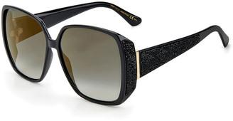 Jimmy Choo Cloe Oversized Square Injection Plastic Sunglasses