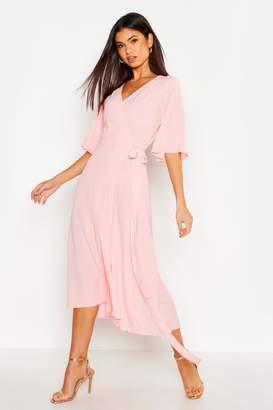 boohoo Woven Angel Sleeve Wrap Midi Dress
