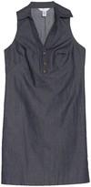 London Times Split Neck Collared Shirtdress