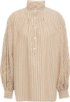 Nili Lotan Claira Gathered Striped Cotton-poplin Blouse