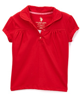 U.S. Polo Assn. Engine Red Ruched Polo - Girls