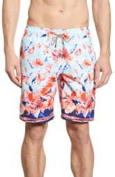 Bugatchi Watercolor Floral Print Swim Trunks