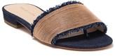 Pelle Moda Bayer Indigo Blue Frayed Trim Sandal