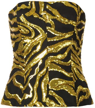 Halpern Sequin Embroidered Crop Top