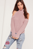 Missguided Turtle Neck Cold Shoulder Sweater Pink